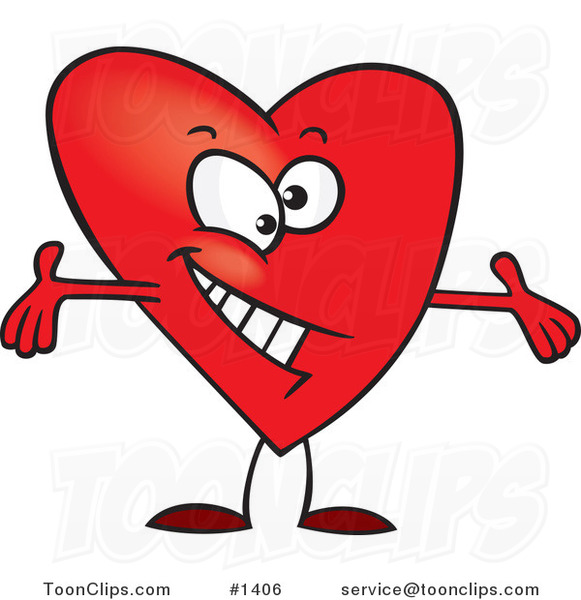 Cartoon Red Surprising Heart with Open Arms