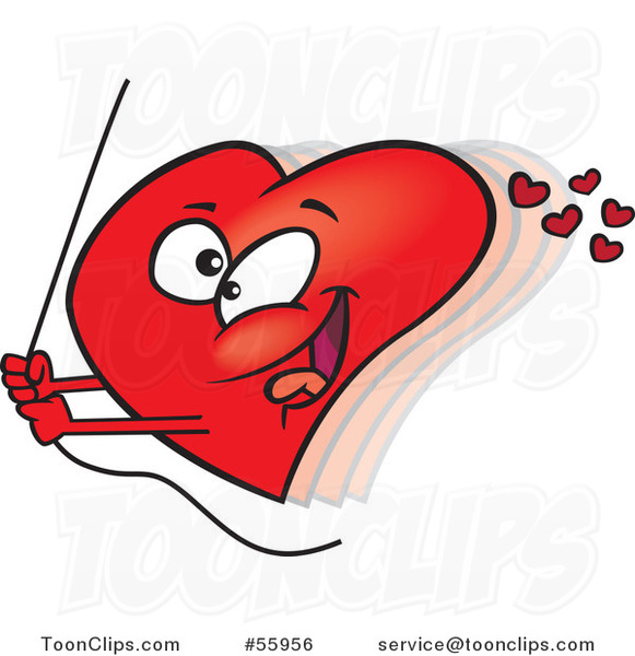 Cartoon Red Valentine Heart Swinging on a Rope