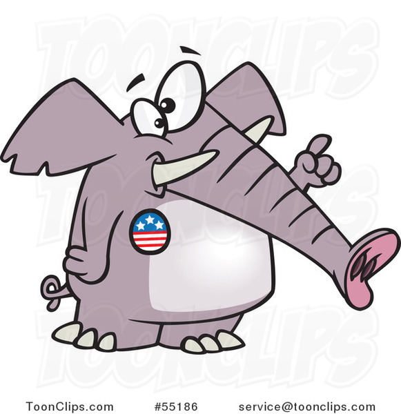 Cartoon Republican Elephant Wearing a Button and Holding up a Finger