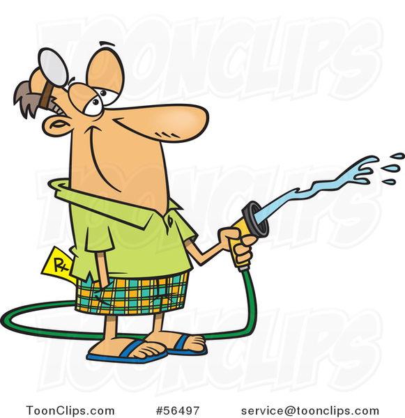 Cartoon Retired White Doctor Using a Hose