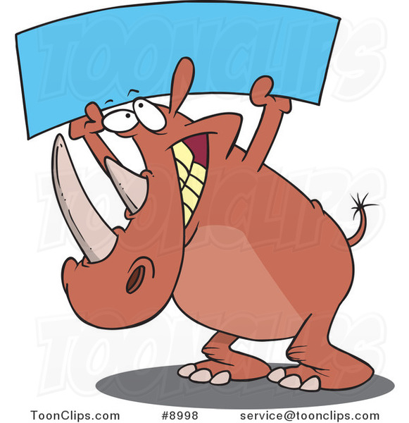 Cartoon Rhino Holding up a Blank Banner