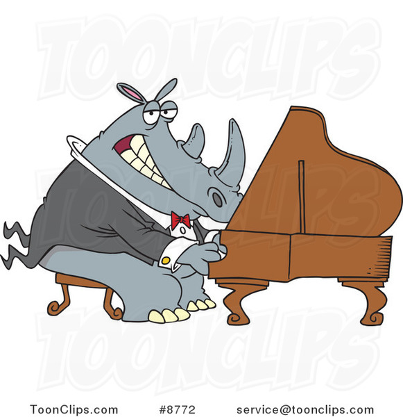 Cartoon Rhino Pianist