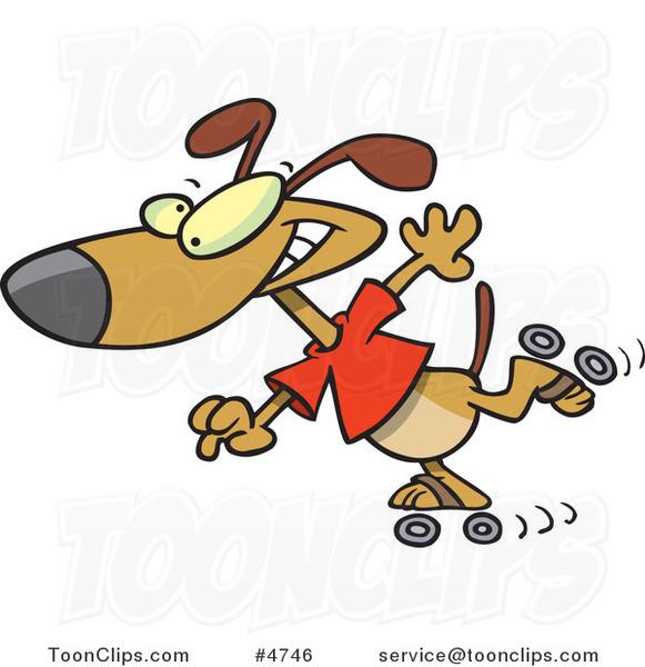 Cartoon Roller Blading Dog #4746 by Ron Leishman