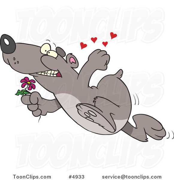 Cartoon Romantic Bear Running with Flowers