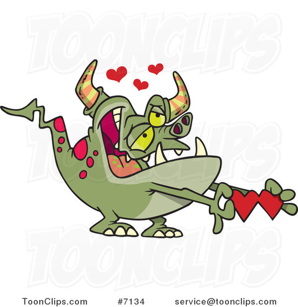 Cartoon Romantic Monster Holding Paper Hearts