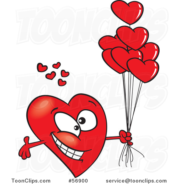 Cartoon Romantic Red Love Heart Character with Open Arms and Balloons
