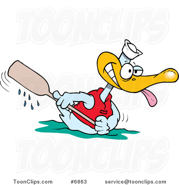 Cartoon Rowing Duck