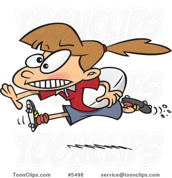 Cartoon Rugby Girl Running with a Ball