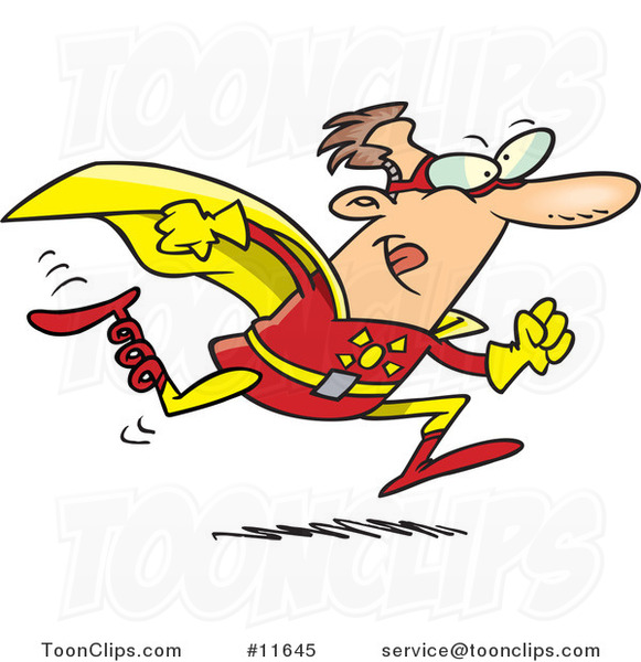 Cartoon Running Bionic Super Hero Guy with a Spring Leg