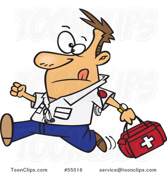 Cartoon Running EMT with a First Aid Kit