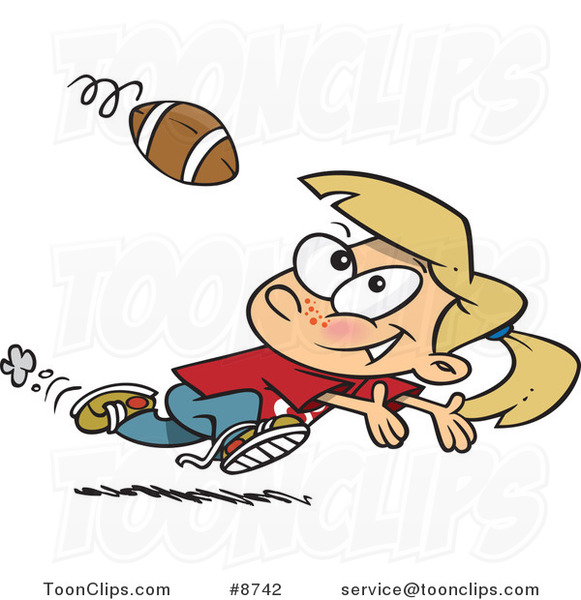 Cartoon Running Girl Catching a Football