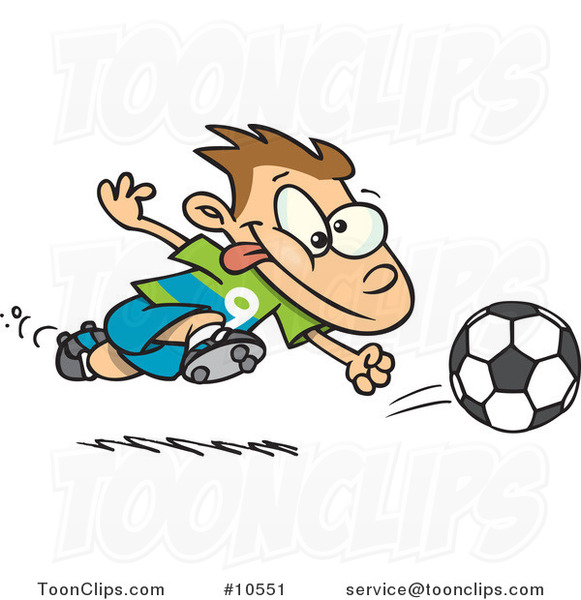 Cartoon Running Soccer Boy