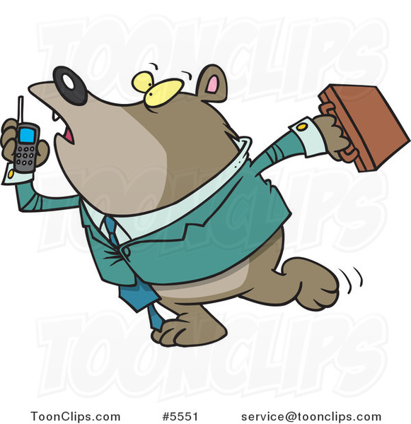 Cartoon Rushed Business Bear