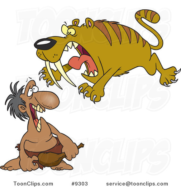 Cartoon Saber Tooth Tiger Attacking a Caveman #9303 by Ron ...