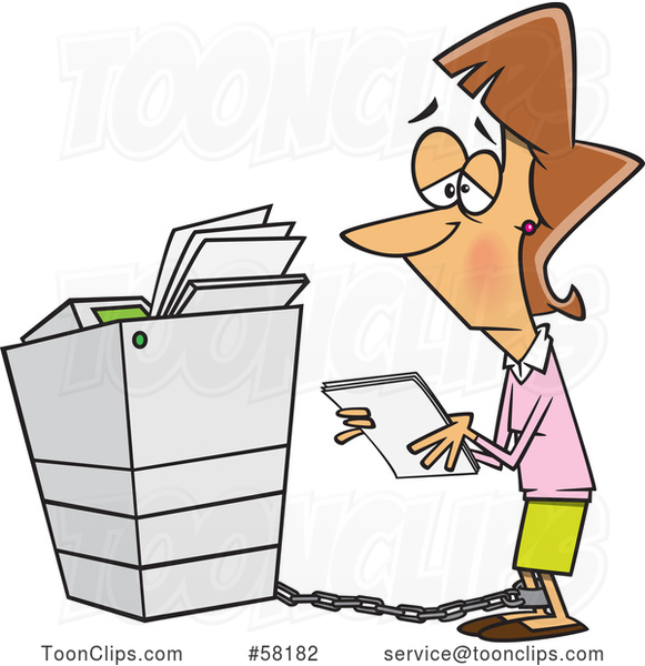 Cartoon Sad White Businesswoman Tied to a Copier