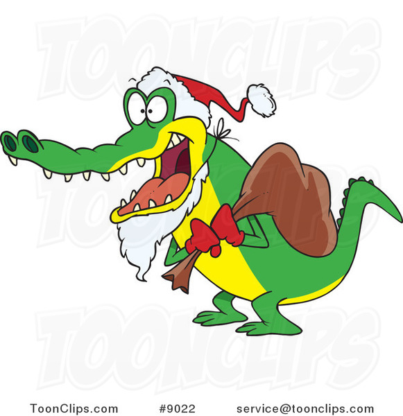 Cartoon Santa Alligator