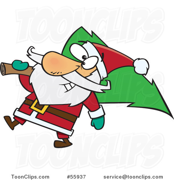 Cartoon Santa Carrying a Christmas Tree