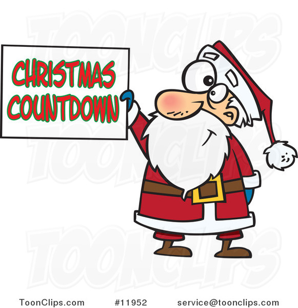 Cartoon Santa Claus Holding a Christmas Countdown Sign