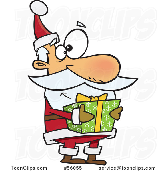 Cartoon Santa Claus Holding a Christmas Gift