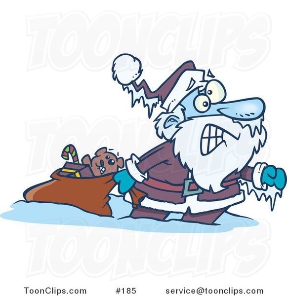 Cartoon Santa Claus Pulling a Toy Sack, Frozen Solid with Icicles Hanging from His Hat and Hand