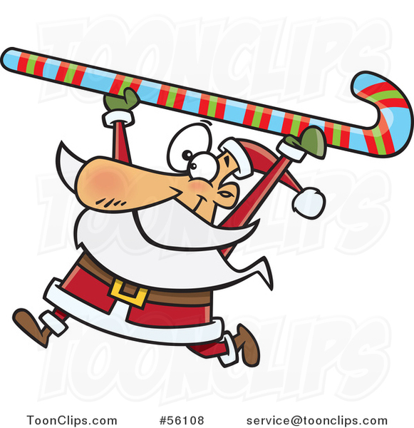 Cartoon Santa Clause Carrying a Giant Christmas Candy Cane over His Head