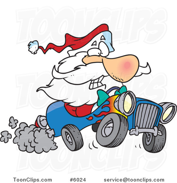 Cartoon Santa Driving a Hot Rod