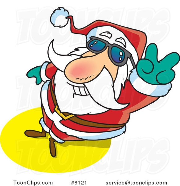 Cartoon Santa Gesturing Peace