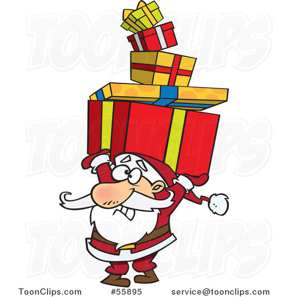 Cartoon Santa Holding a Stack of Christmas Gifts over His Head