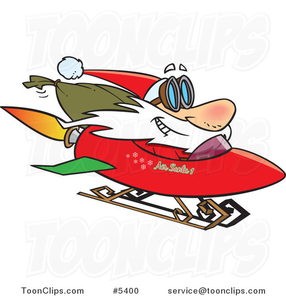 Cartoon Santa on a Rocket Sled