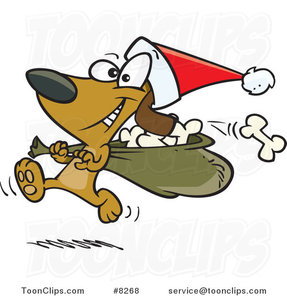Cartoon Santa Paws Dog Carrying a Bag of Bones