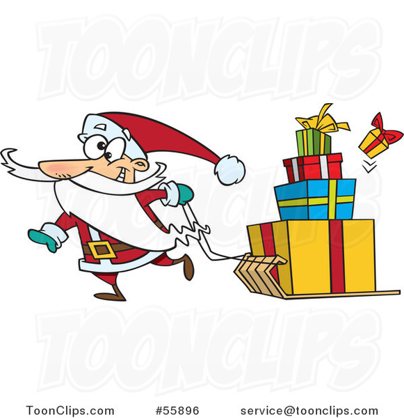 Cartoon Santa Pulling Christmas Gifts on a Sled