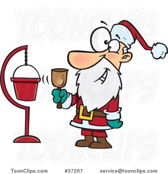 Cartoon Santa Ringing a Bell by a Donation Cup