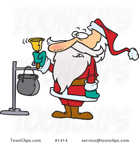 Cartoon Santa Ringing a Charity Bell