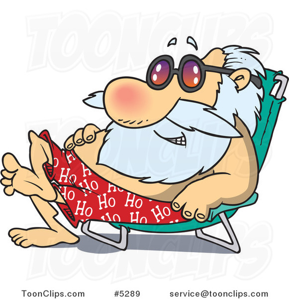 Cartoon Santa Sun Bathing in a Chair