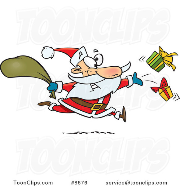 Cartoon Santa Tossing Gifts