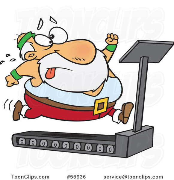 Cartoon Santa Trying to Run and Lose Weight on a Treadmill