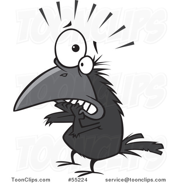 Cartoon Scared Crow Biting His Nails