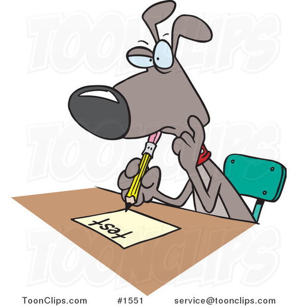 Cartoon School Dog Taking a Test