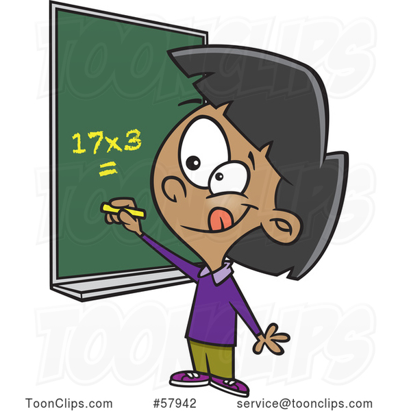 Cartoon School Girl Solving a Multiplication Math Problem