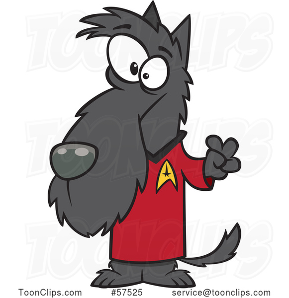 Cartoon Scottie Dog in a Star Trek Shirt