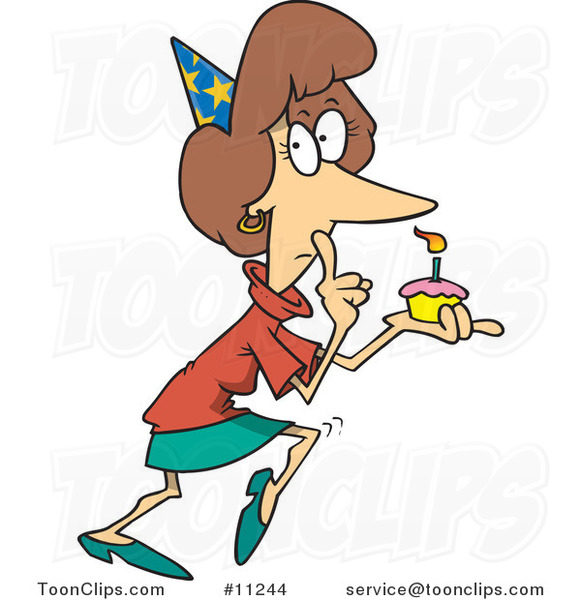 Cartoon Secretive Lady Holding a Birthday Cupcake