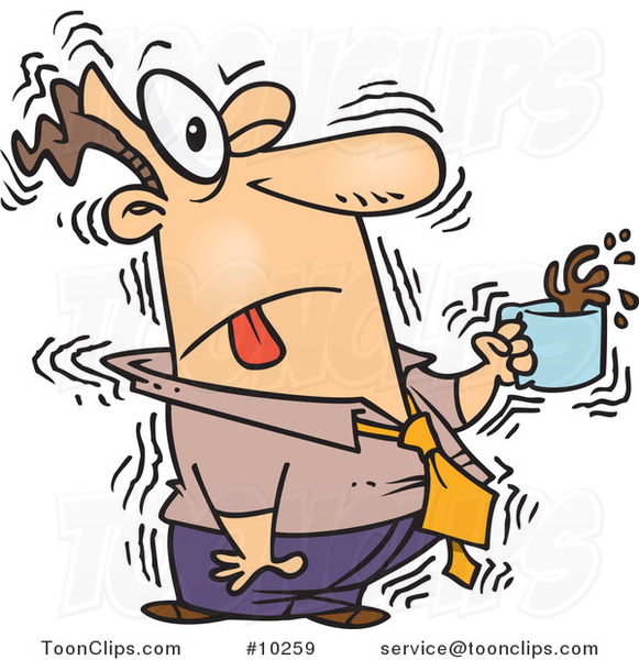 Cartoon Shaky Business Man with Coffee