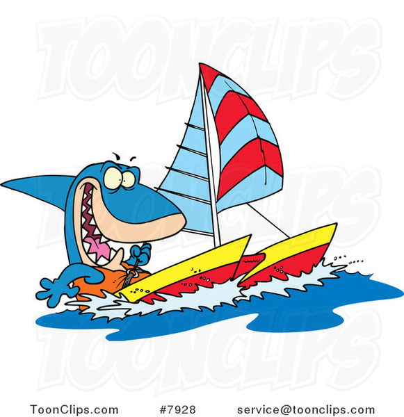 Cartoon Shark Sailing a Catamaran