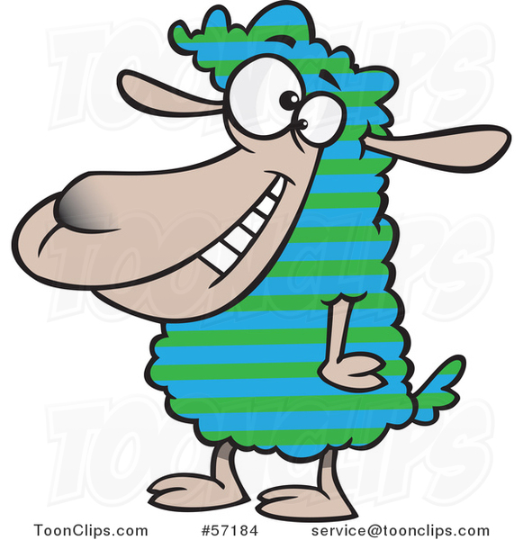 Cartoon Sheep with Striped Wool