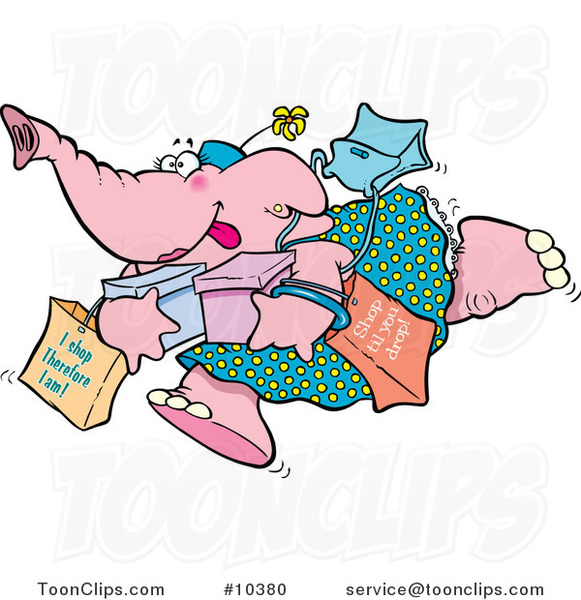 Cartoon Shopping Elephant