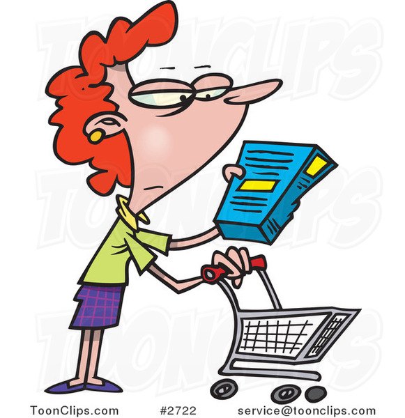 Cartoon Shopping Lady Reading an Ingredient Label