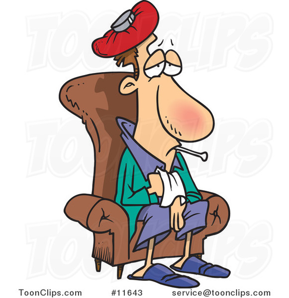 Cartoon Sick Guy Sitting in a Chair