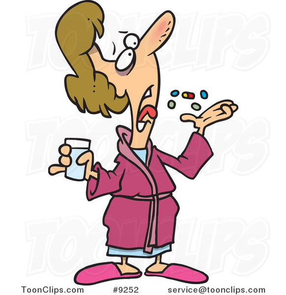 Cartoon Sick Lady Popping Pills