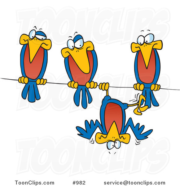 Cartoon Silly Bird Hanging Upside down on a Wire by His Friends