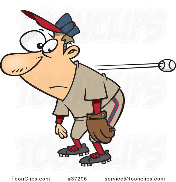 Cartoon Slow Reacting Baseball Player Ignoring the Ball